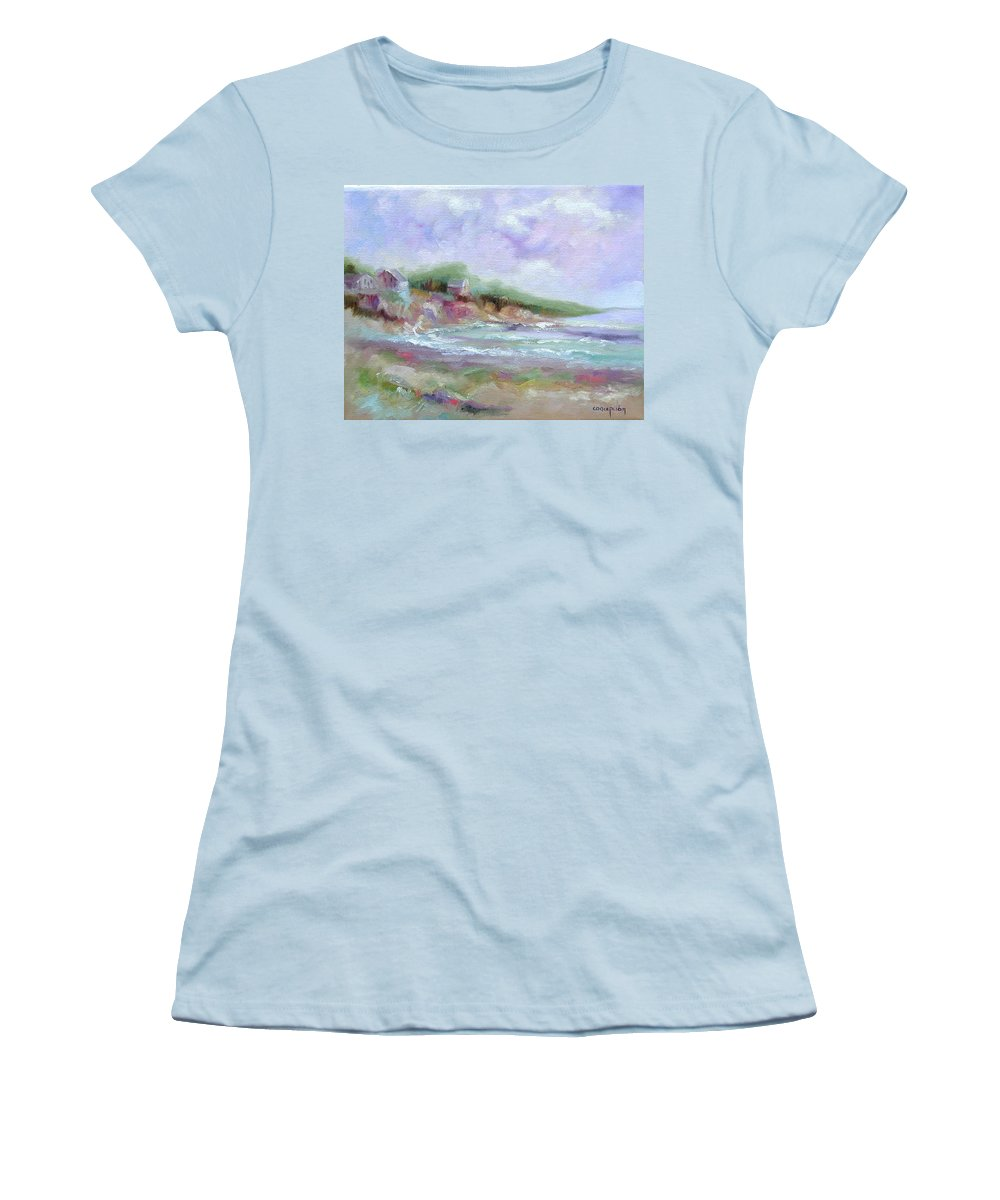 Maine Coastline Women's T-Shirt (Athletic Fit) featuring the painting Maine Coastline by Ginger Concepcion