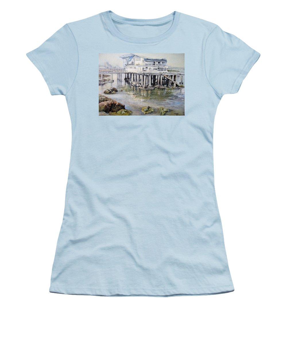 Maritim Women's T-Shirt (Junior Cut) featuring the painting Maritim Club Castro Urdiales by Tomas Castano