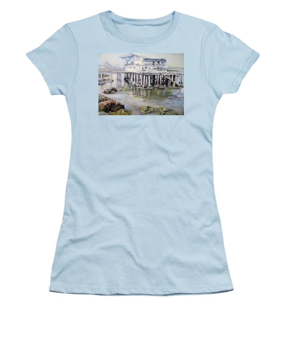 Maritim Women's T-Shirt (Athletic Fit) featuring the painting Maritim Club Castro Urdiales by Tomas Castano