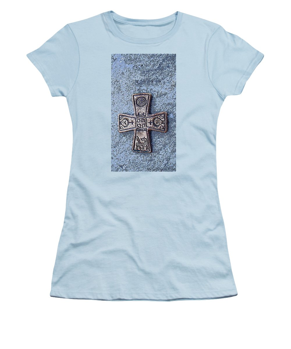 Cross Women's T-Shirt (Athletic Fit) featuring the photograph Medieval Nordic Cross by Merja Waters