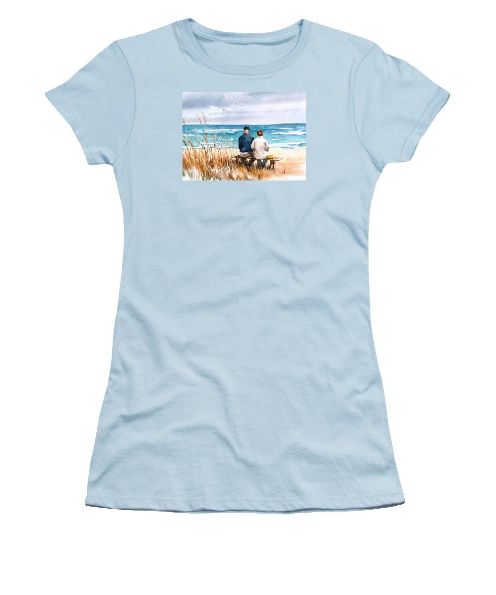 Couple On Beach Women's T-Shirt (Athletic Fit) featuring the painting Memories by Art Scholz