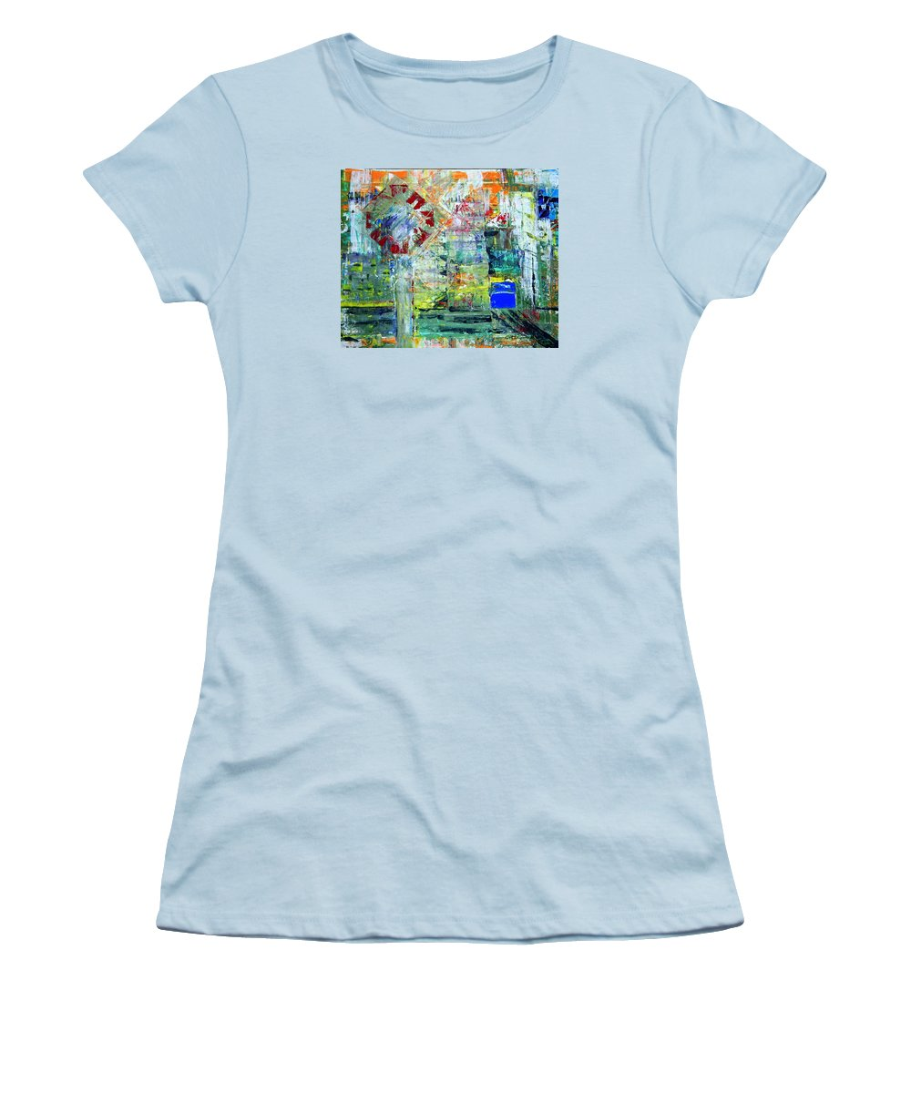 Abstract Women's T-Shirt (Athletic Fit) featuring the painting Milton Place by J R Seymour