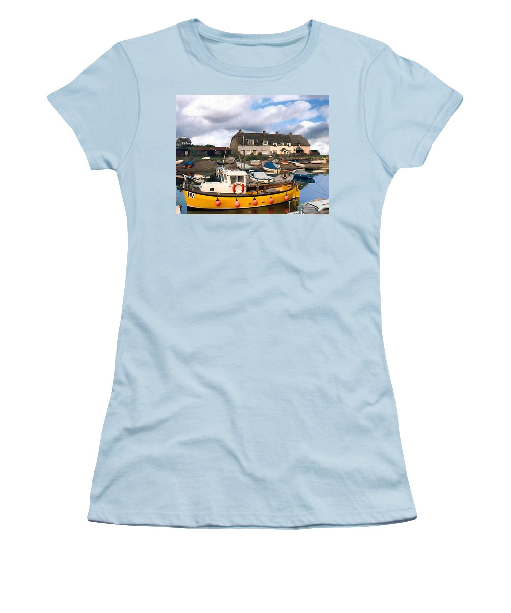 Harbor Women's T-Shirt (Athletic Fit) featuring the photograph Minehead Sommerset by Kurt Van Wagner