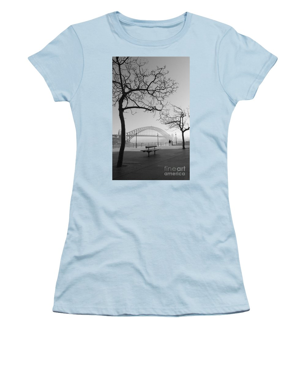 Sydney Harbour Bridge Mist Australia Women's T-Shirt (Athletic Fit) featuring the photograph Misty Sydney Morning by Sheila Smart Fine Art Photography