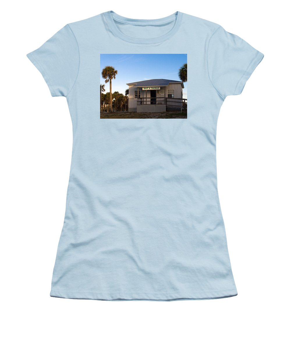 Morning Women's T-Shirt (Athletic Fit) featuring the photograph Morning At Sebastian Inlet In Florida by Allan Hughes