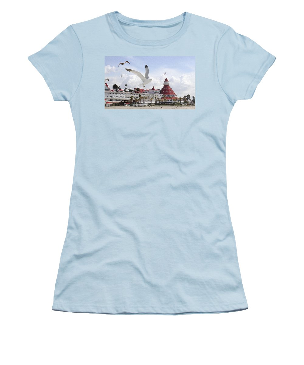 Beach Women's T-Shirt (Athletic Fit) featuring the photograph Morning Gulls On Coronado by Margie Wildblood