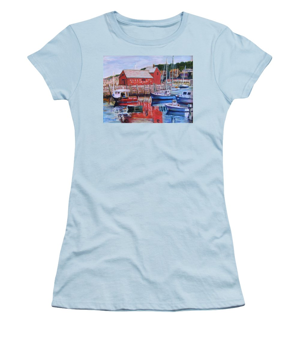 Rockport Women's T-Shirt (Athletic Fit) featuring the painting Motif Number One by Richard Nowak