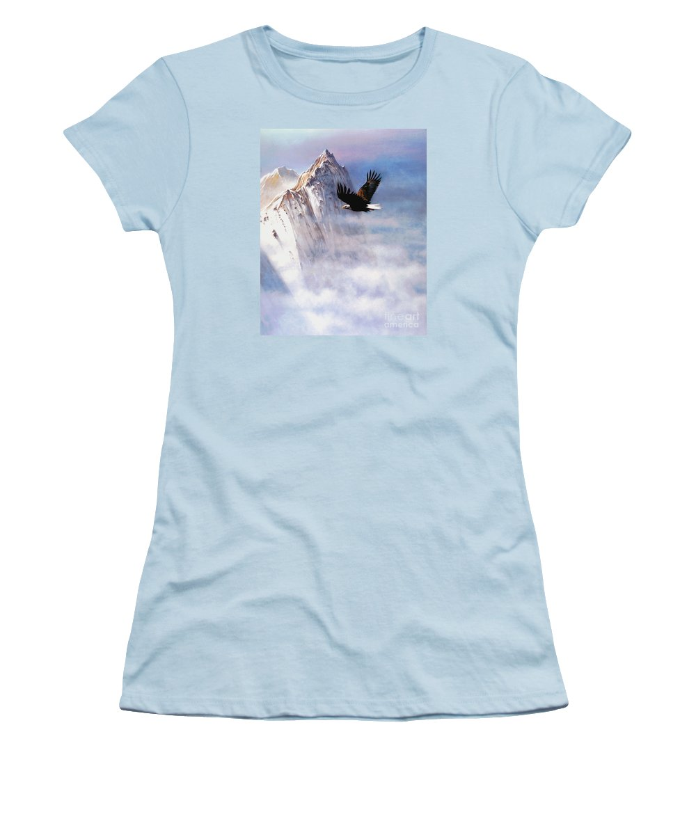 Eagle Women's T-Shirt (Athletic Fit) featuring the painting Mountain Majesty by Robert Foster