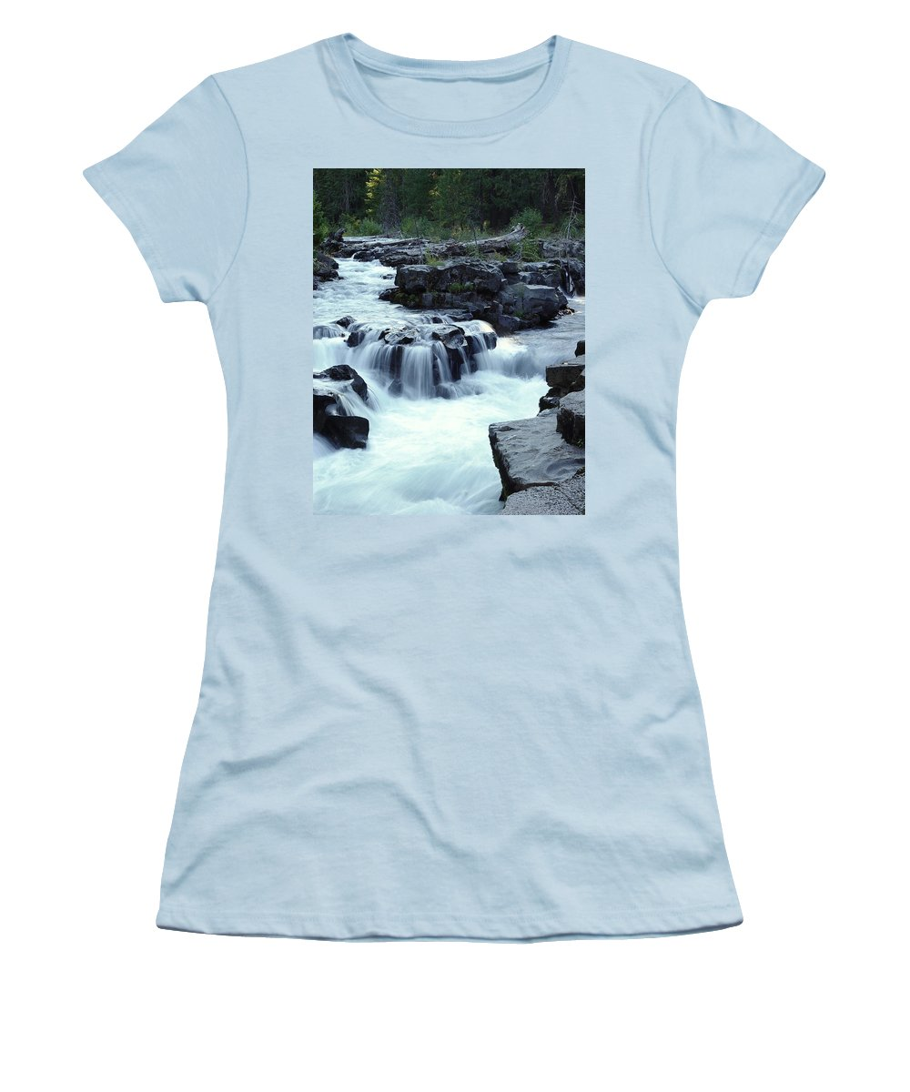 Waterfall Women's T-Shirt (Athletic Fit) featuring the photograph Natural Bridges Falls 03 by Peter Piatt