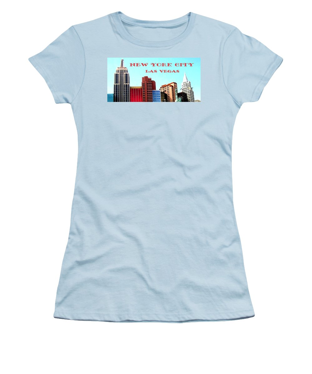 Poster Women's T-Shirt (Athletic Fit) featuring the digital art New York City- Las Vegas by Will Borden