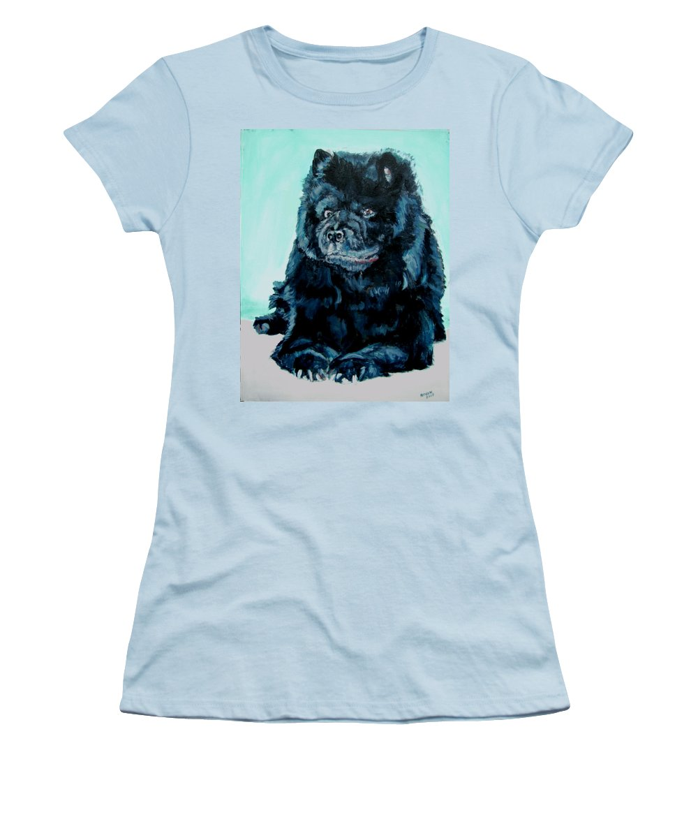 Dog Women's T-Shirt (Athletic Fit) featuring the painting Nikki The Chow by Bryan Bustard