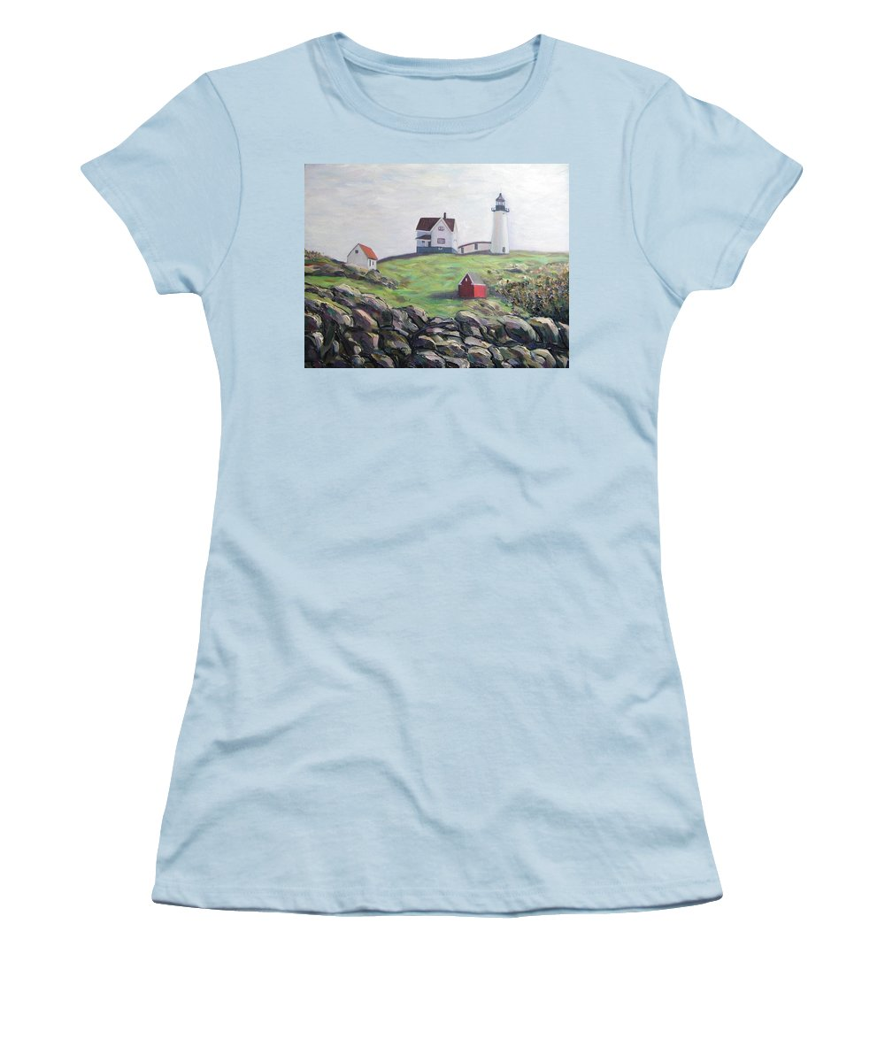 Maine Women's T-Shirt (Athletic Fit) featuring the painting Nubble Light House by Richard Nowak