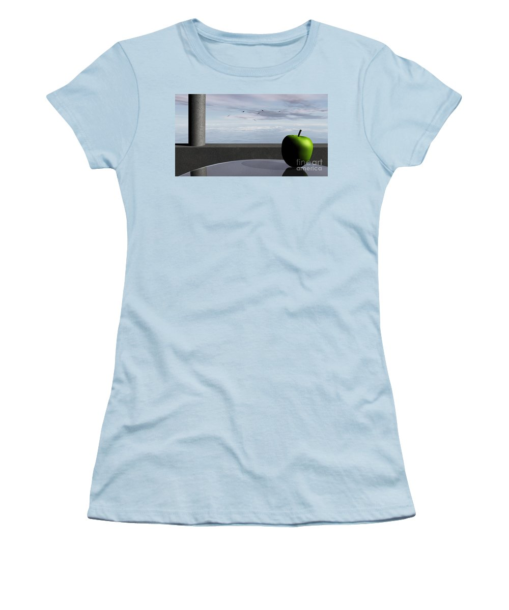 Modern Women's T-Shirt (Athletic Fit) featuring the digital art Ocean Balcony by Richard Rizzo