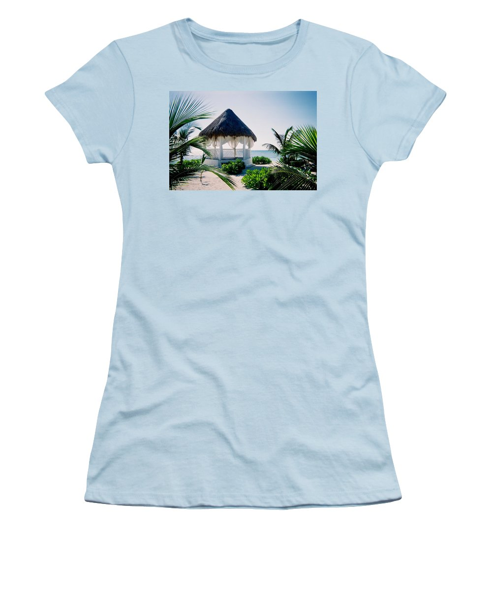 Resort Women's T-Shirt (Athletic Fit) featuring the photograph Ocean Gazebo by Anita Burgermeister