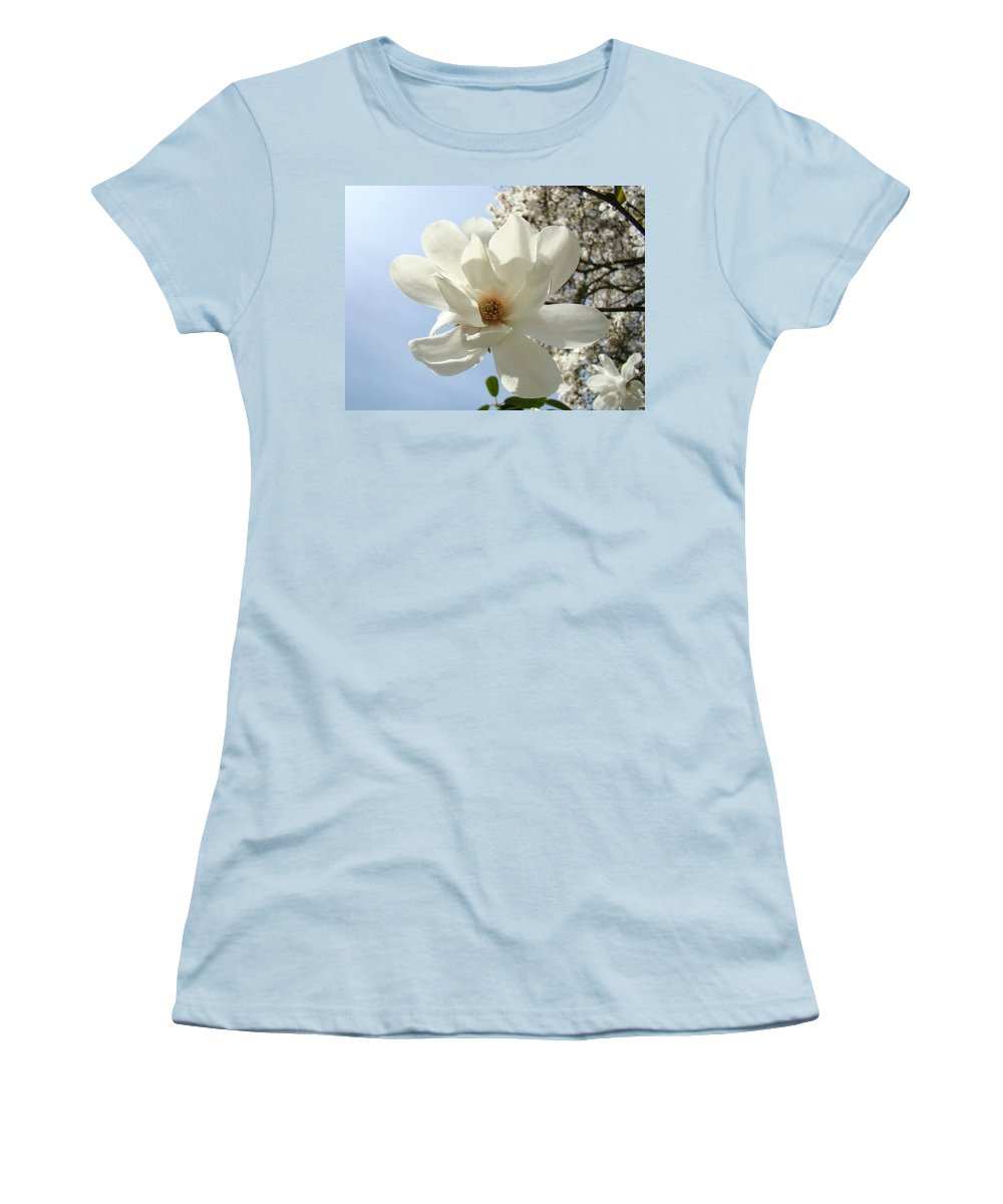 Magnolia Women's T-Shirt (Athletic Fit) featuring the photograph Office Art Prints White Magnolia Flower 66 Blue Sky Giclee Prints Baslee Troutman by Baslee Troutman
