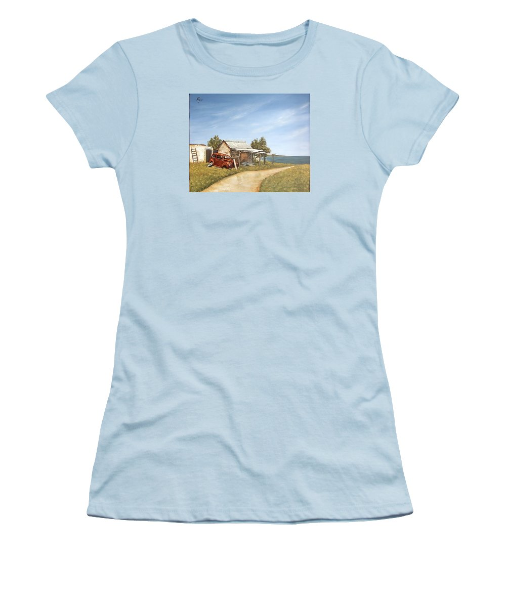 Old House Sea Seascape Landscape Women's T-Shirt (Athletic Fit) featuring the painting Old House By The Sea by Natalia Tejera