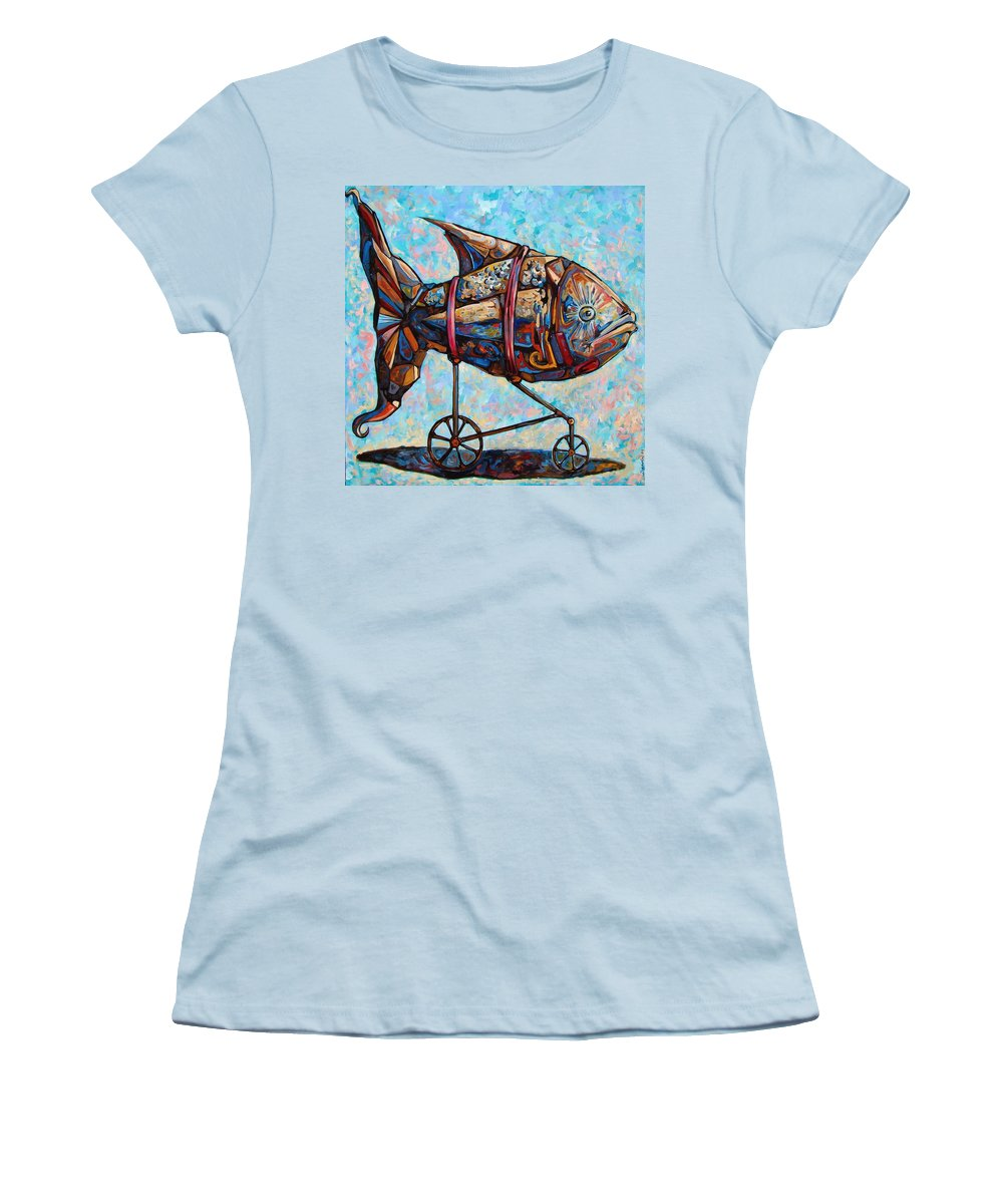 Surrealism Women's T-Shirt (Athletic Fit) featuring the painting On The Conquer For Land by Darwin Leon