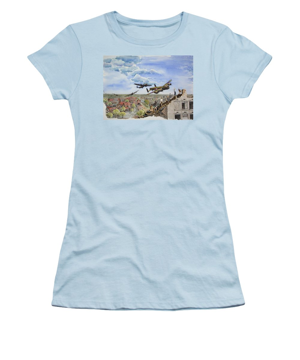 Lancaster Bomber Women's T-Shirt (Athletic Fit) featuring the painting Operation Manna I by Gale Cochran-Smith