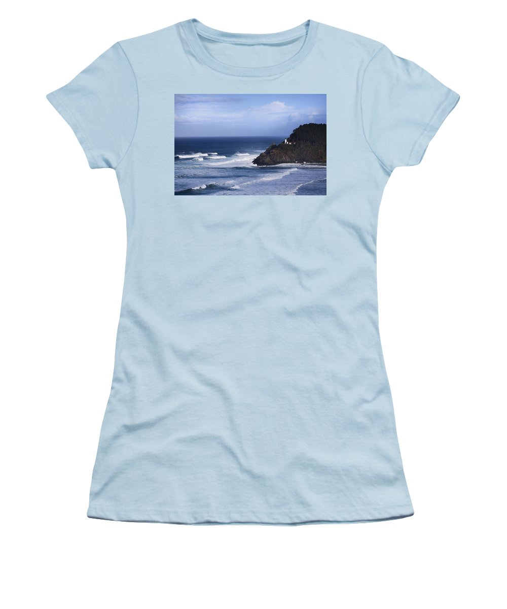 Nature Women's T-Shirt (Athletic Fit) featuring the photograph Oregon Lighthouse by John K Sampson