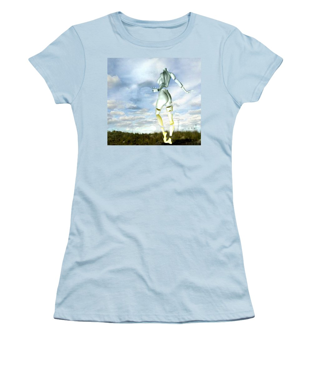 Sky Naked Woman Surreal Dance Women's T-Shirt (Athletic Fit) featuring the digital art Out Of My Mind... by Veronica Jackson
