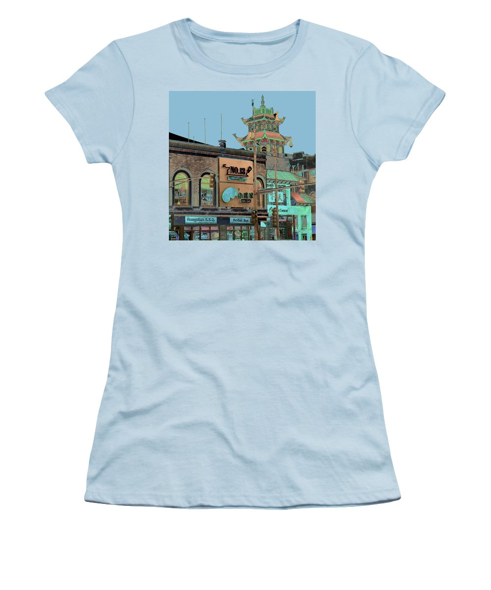 China Town Women's T-Shirt (Junior Cut) featuring the photograph Pagoda Tower Chinatown Chicago by Marianne Dow