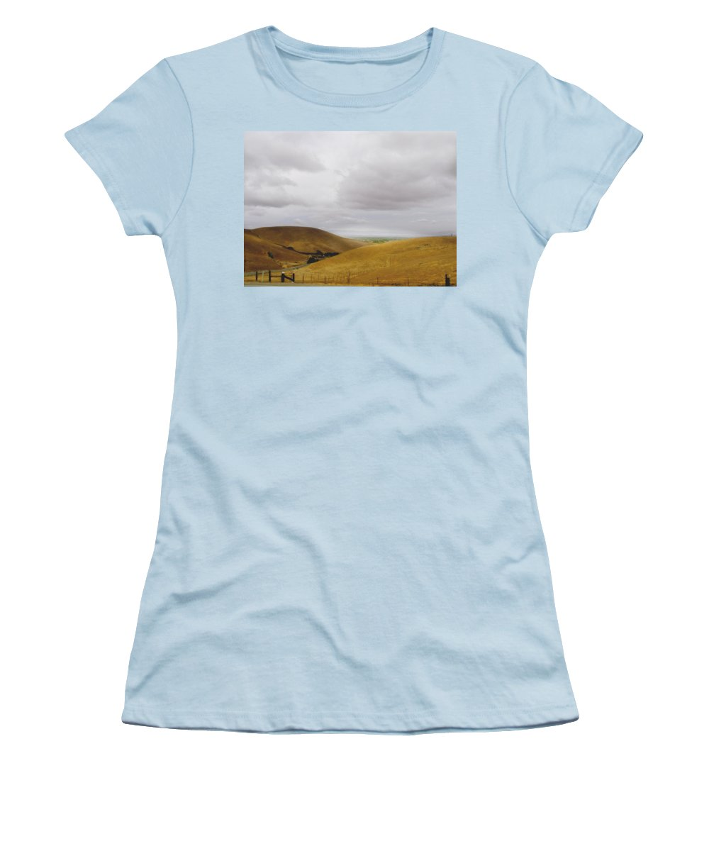 Landscape Women's T-Shirt (Athletic Fit) featuring the photograph Patterson Pass Road by Karen W Meyer