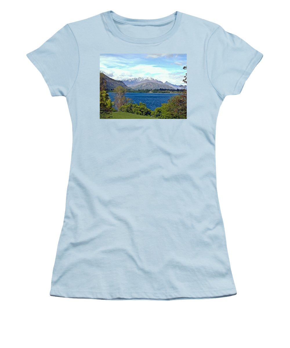 Lake Women's T-Shirt (Athletic Fit) featuring the photograph Peaceful Lake -- New Zealand by Douglas Barnett