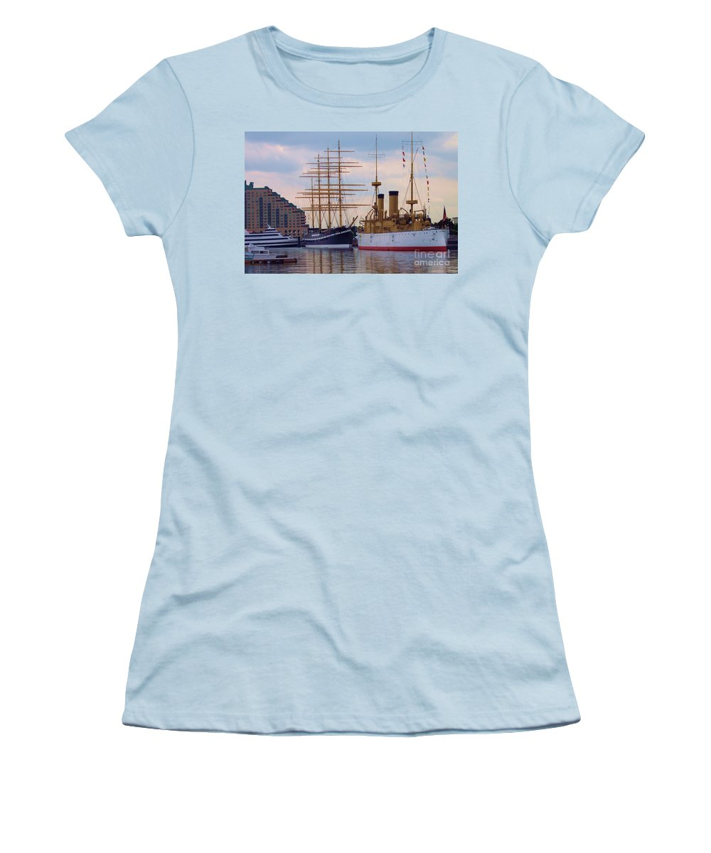 Philadelphia Women's T-Shirt (Athletic Fit) featuring the photograph Philadelphia Waterfront Olympia by Debbi Granruth