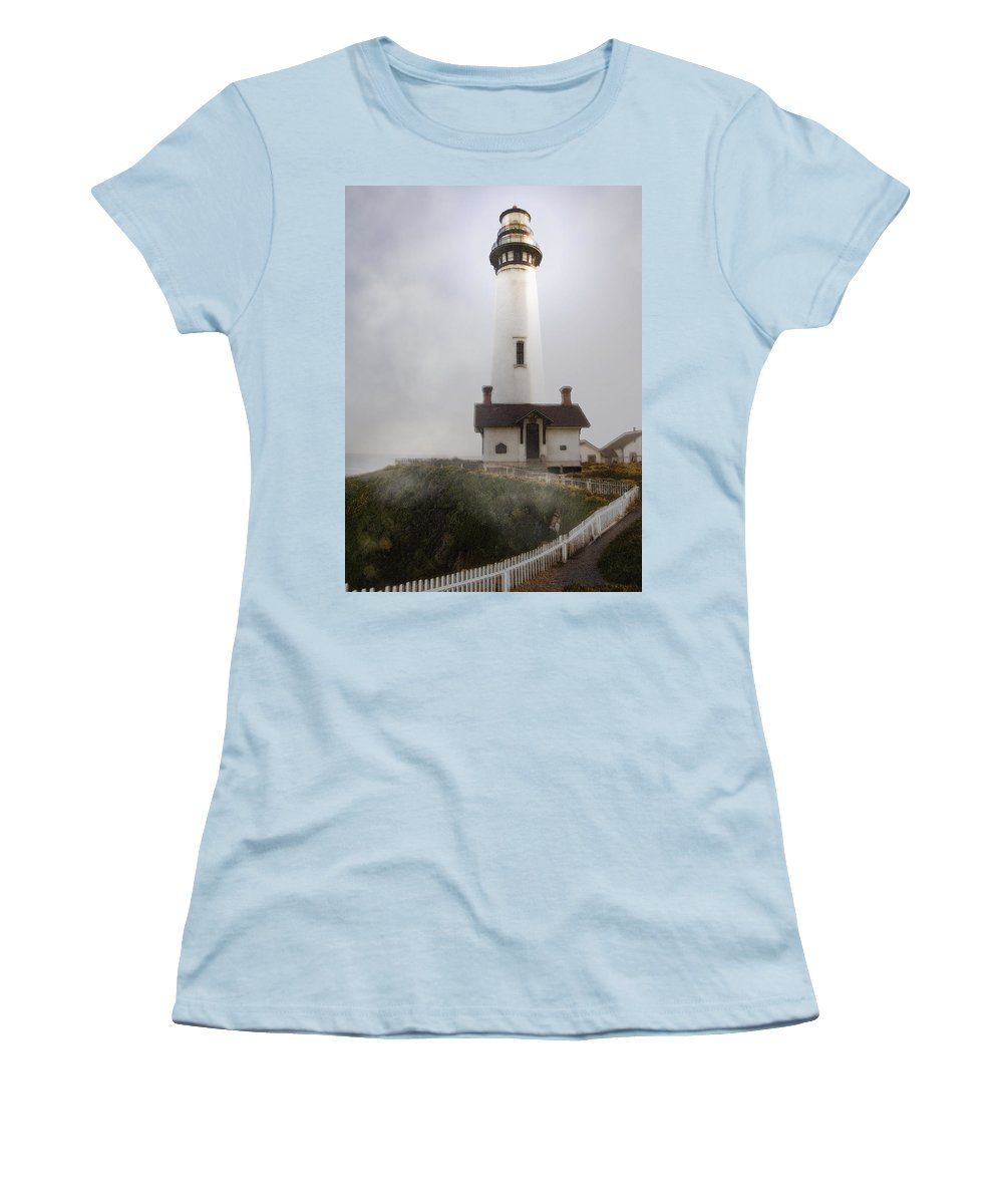 Ocean Women's T-Shirt (Athletic Fit) featuring the photograph Pigeon Point Lighthouse by Karen W Meyer