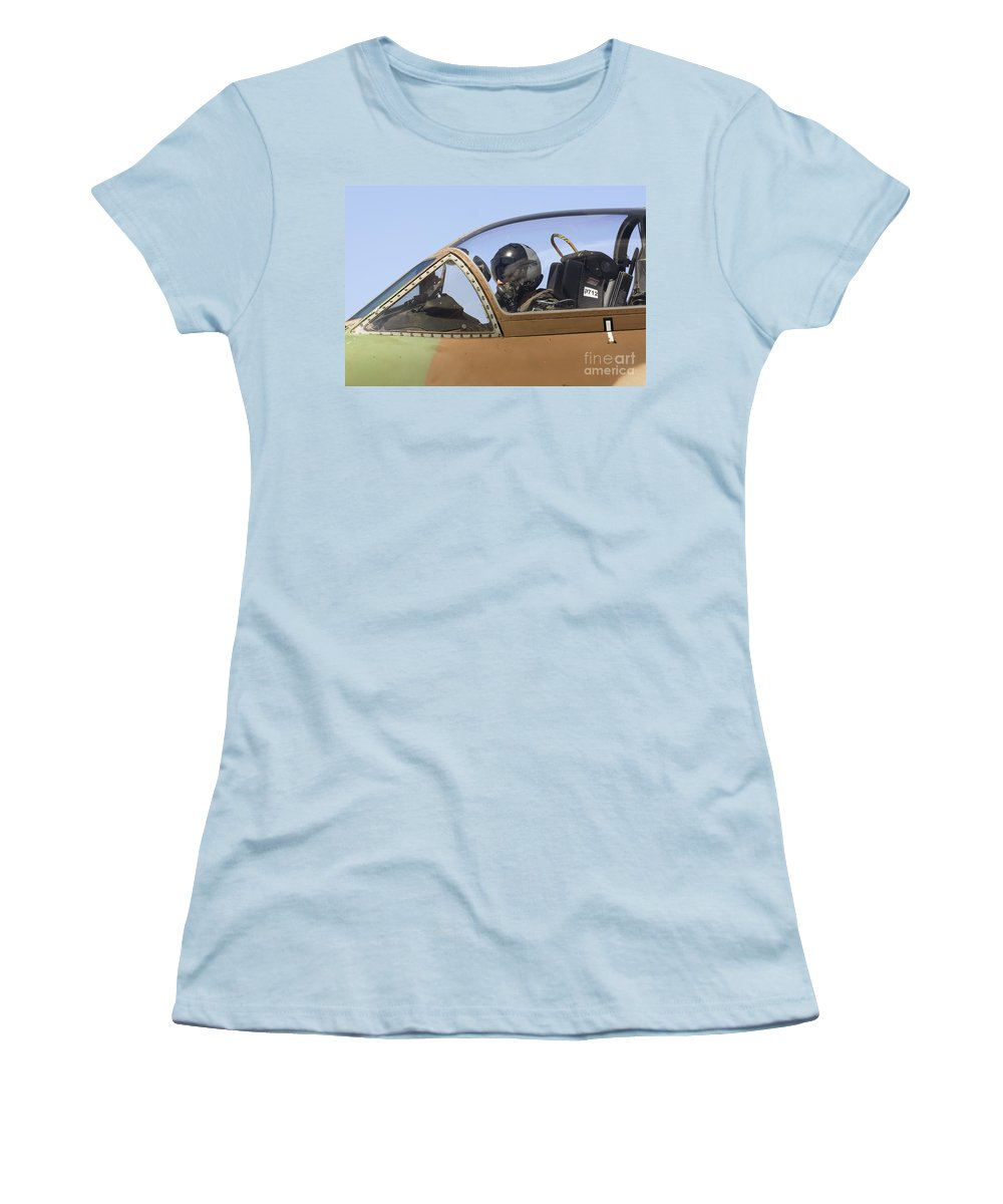 Aircraft Women's T-Shirt (Athletic Fit) featuring the photograph Pilot In The Cockpit Of A Skyhawk Fighter Jet by Nir Ben-Yosef