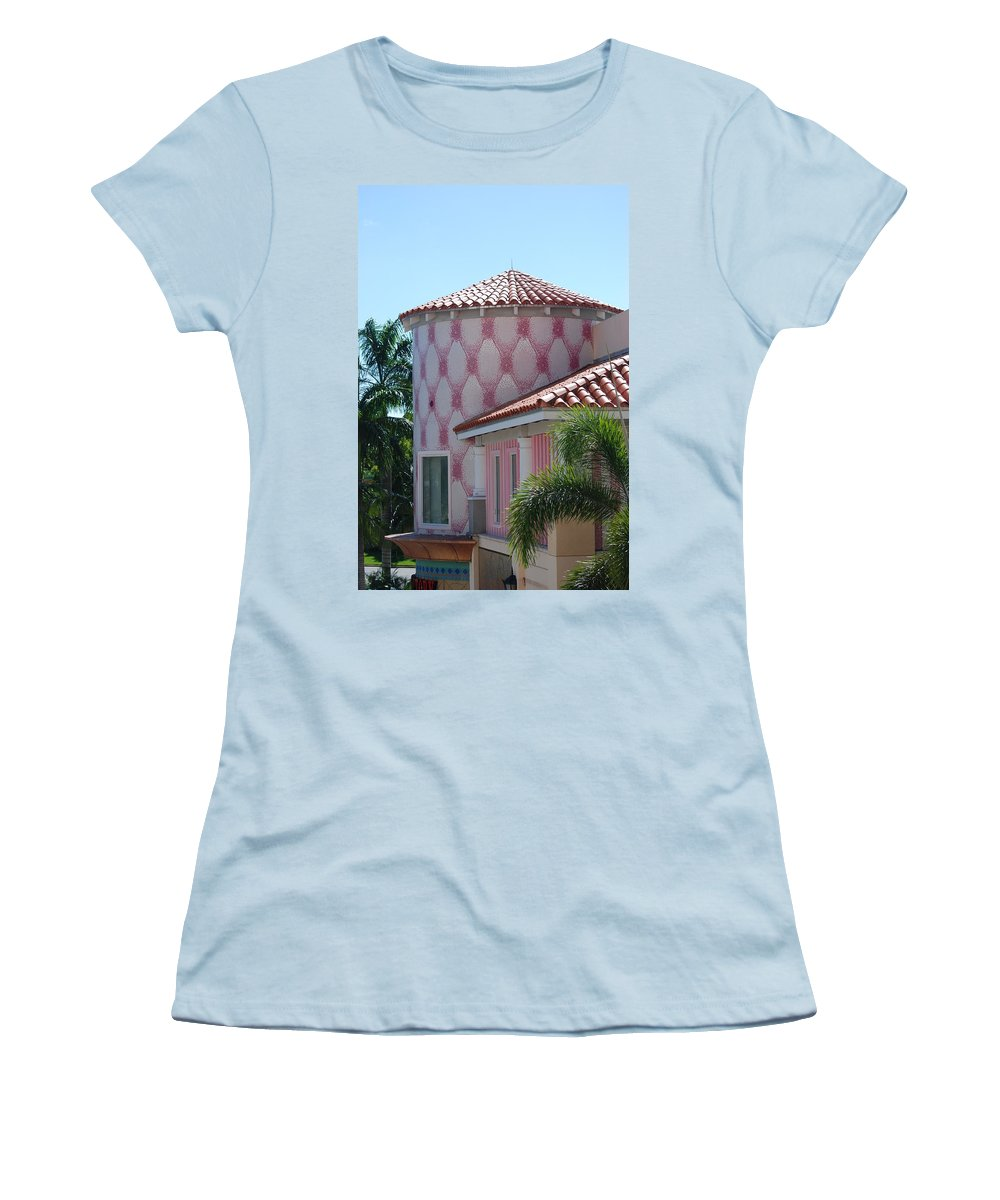 Architecture Women's T-Shirt (Athletic Fit) featuring the photograph Pink Tower by Rob Hans