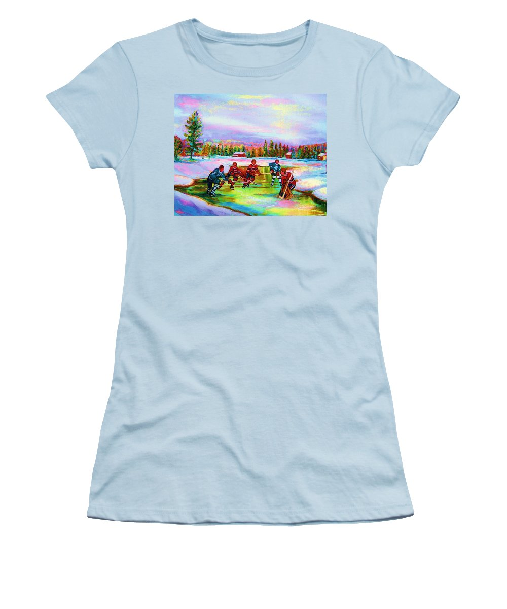 Hockey Women's T-Shirt (Athletic Fit) featuring the painting Pond Hockey Blue Skies by Carole Spandau