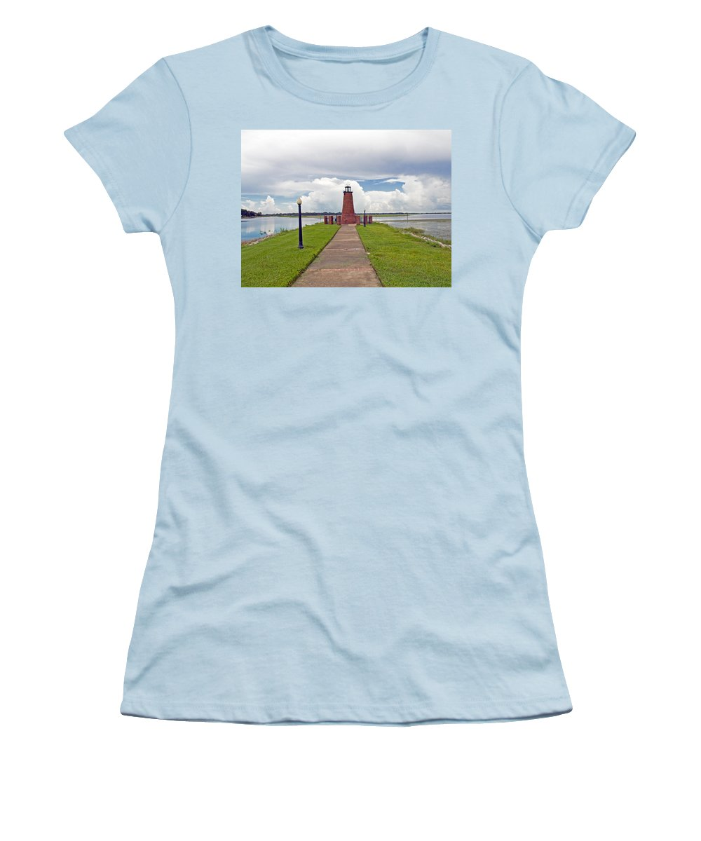 Florida; Kissimmee; Toho; Tohopekaliga; Port; Light; Lighthouse; House; Beacon; Brick; Central; Harb Women's T-Shirt (Athletic Fit) featuring the photograph Port Of Kissimmee Lighthouse On Lake Tohopekaliga In Central Florida by Allan Hughes