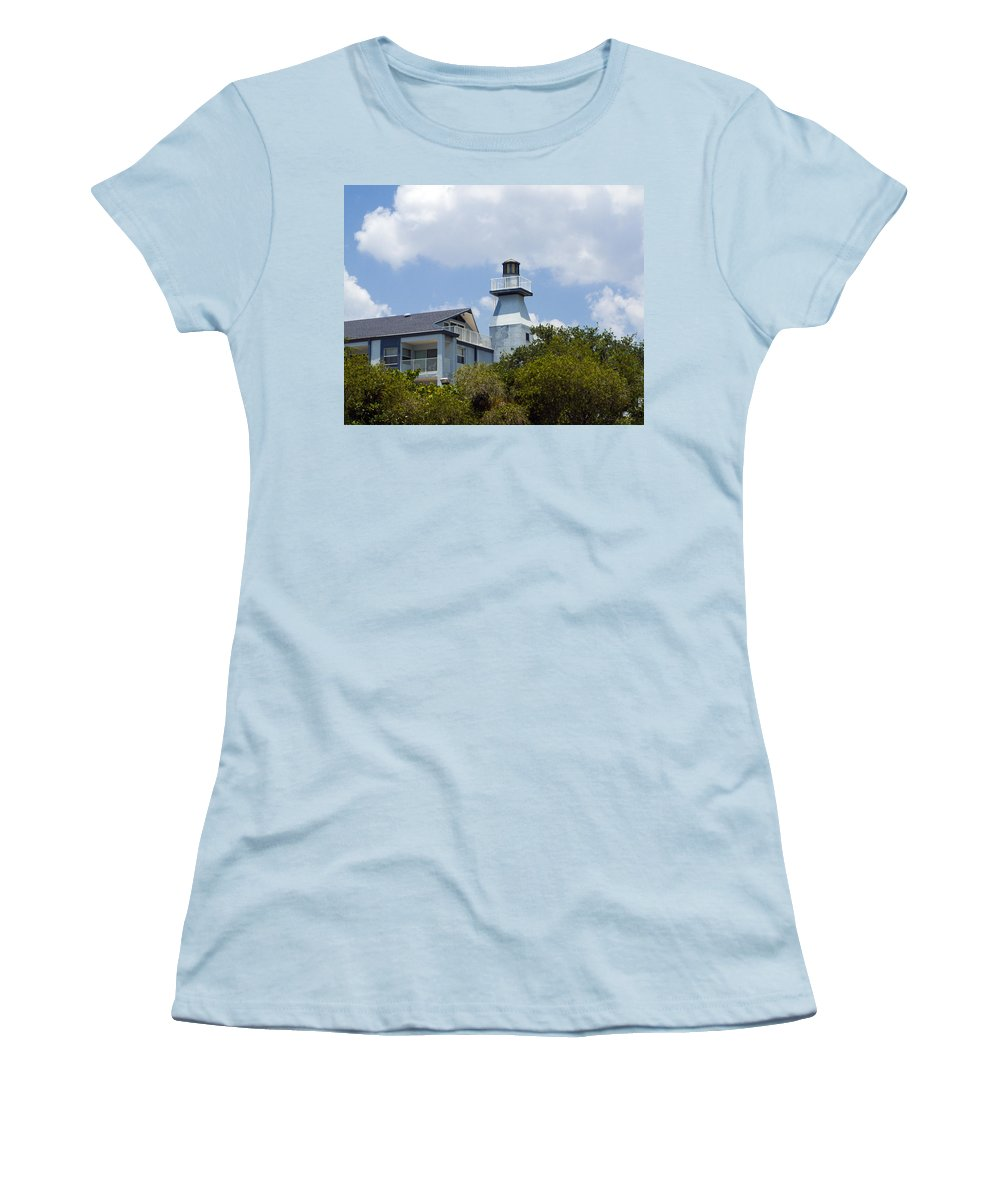 Light; Lighthouse; Private; Beacon; Keeper; Harbor; Harbour; Sail; Sailing; Boats; Boat; Craft; Anch Women's T-Shirt (Athletic Fit) featuring the photograph Private Lighthouse On The Indian River Lagoon In Melbourne Florida by Allan Hughes