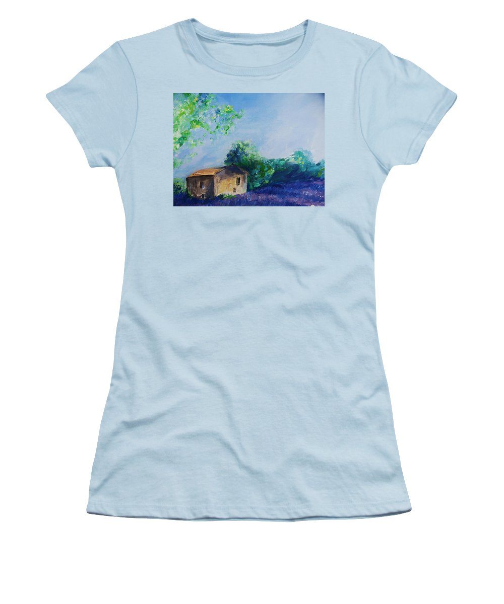 Provence Women's T-Shirt (Athletic Fit) featuring the painting Provence House by Eric Schiabor