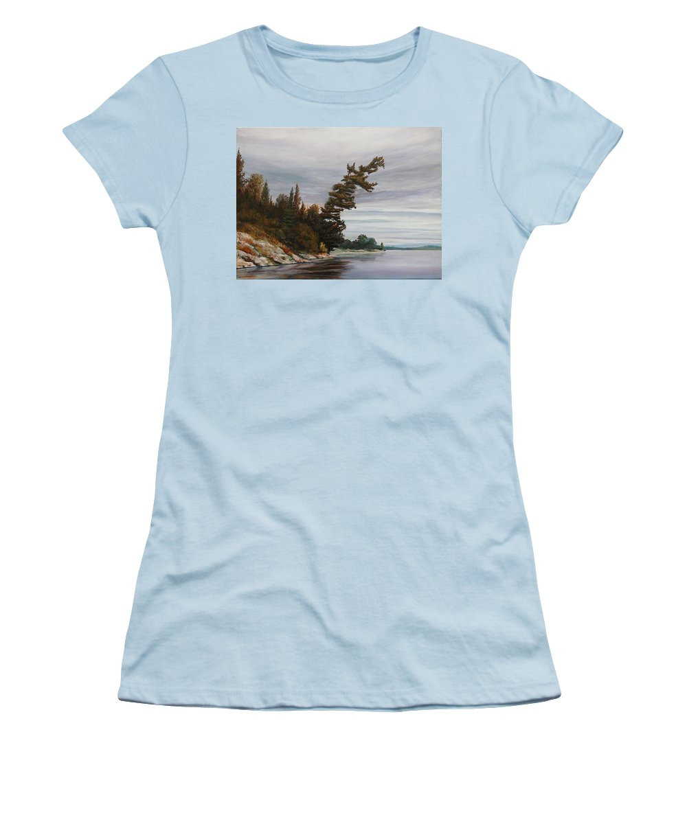 Landscape Women's T-Shirt (Athletic Fit) featuring the painting Ptarmigan Bay by Ruth Kamenev
