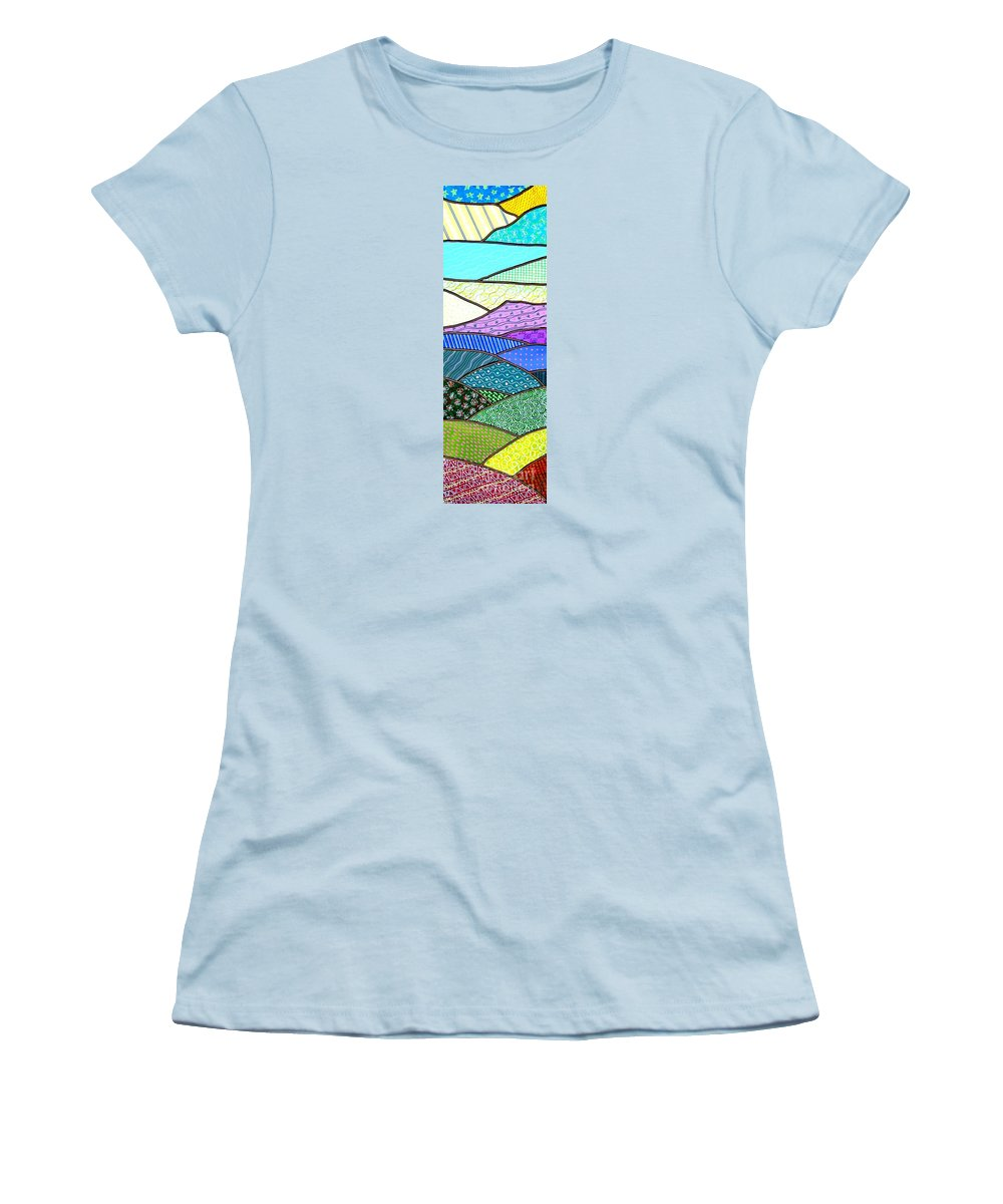 Mountain Women's T-Shirt (Athletic Fit) featuring the painting Quilted Mountain by Jim Harris