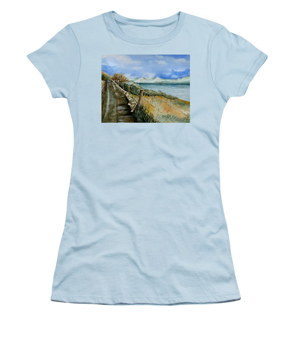 Watercolor Women's T-Shirt (Athletic Fit) featuring the painting Rambling Walk by Brenda Owen