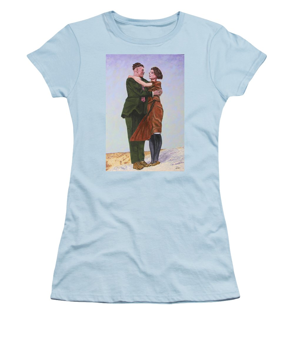 Double Portrait Women's T-Shirt (Athletic Fit) featuring the painting Ray And Isabel by Stan Hamilton