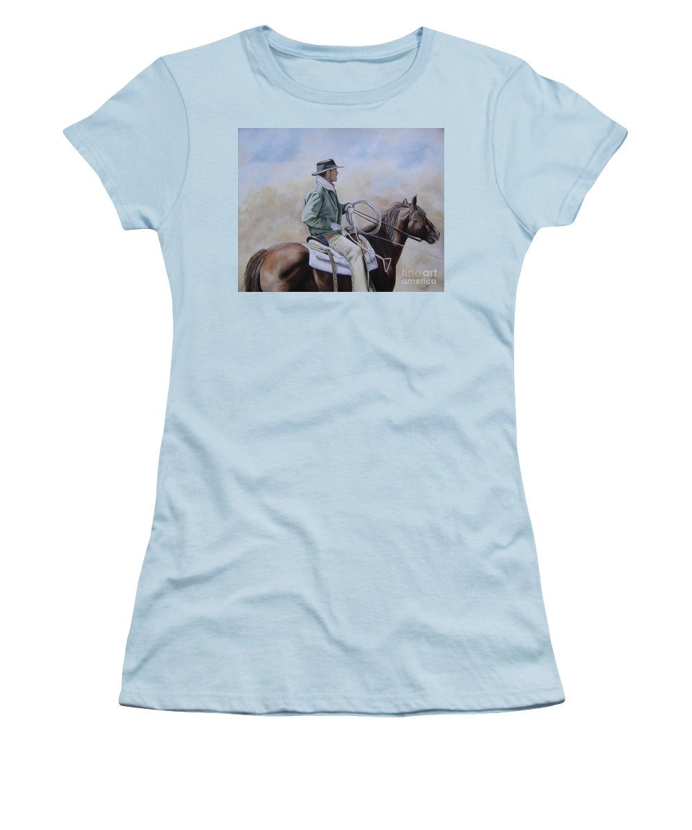 Ranch Women's T-Shirt (Athletic Fit) featuring the painting Ready To Rope by Mary Rogers