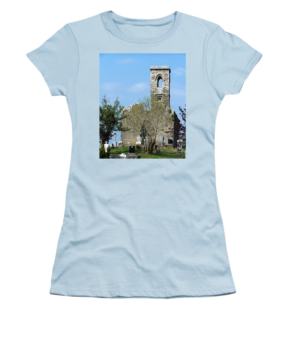 Fuerty Women's T-Shirt (Athletic Fit) featuring the photograph Rear View Fuerty Church And Cemetery Roscommon Ireland by Teresa Mucha