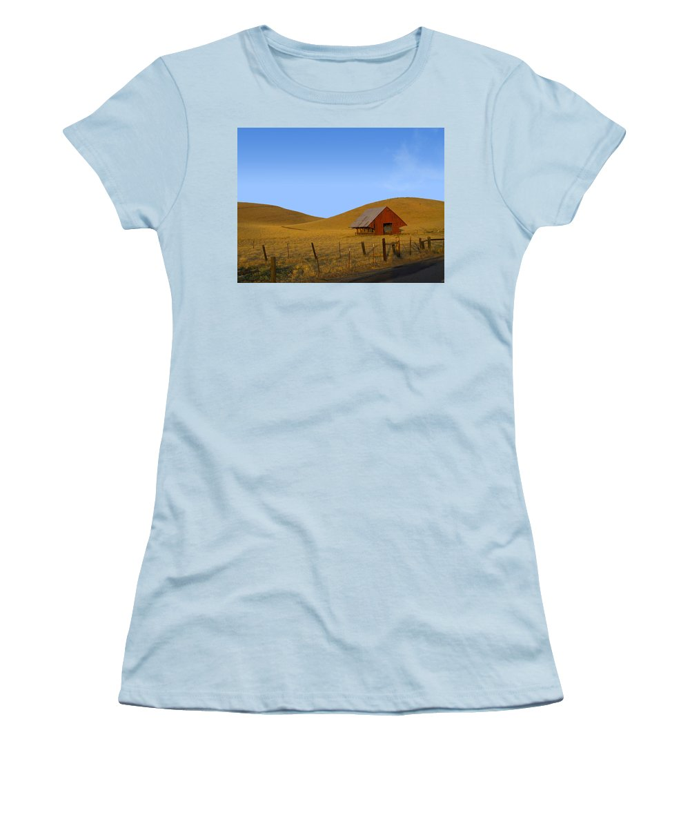 Landscape Women's T-Shirt (Athletic Fit) featuring the photograph Red Barn Summer by Karen W Meyer