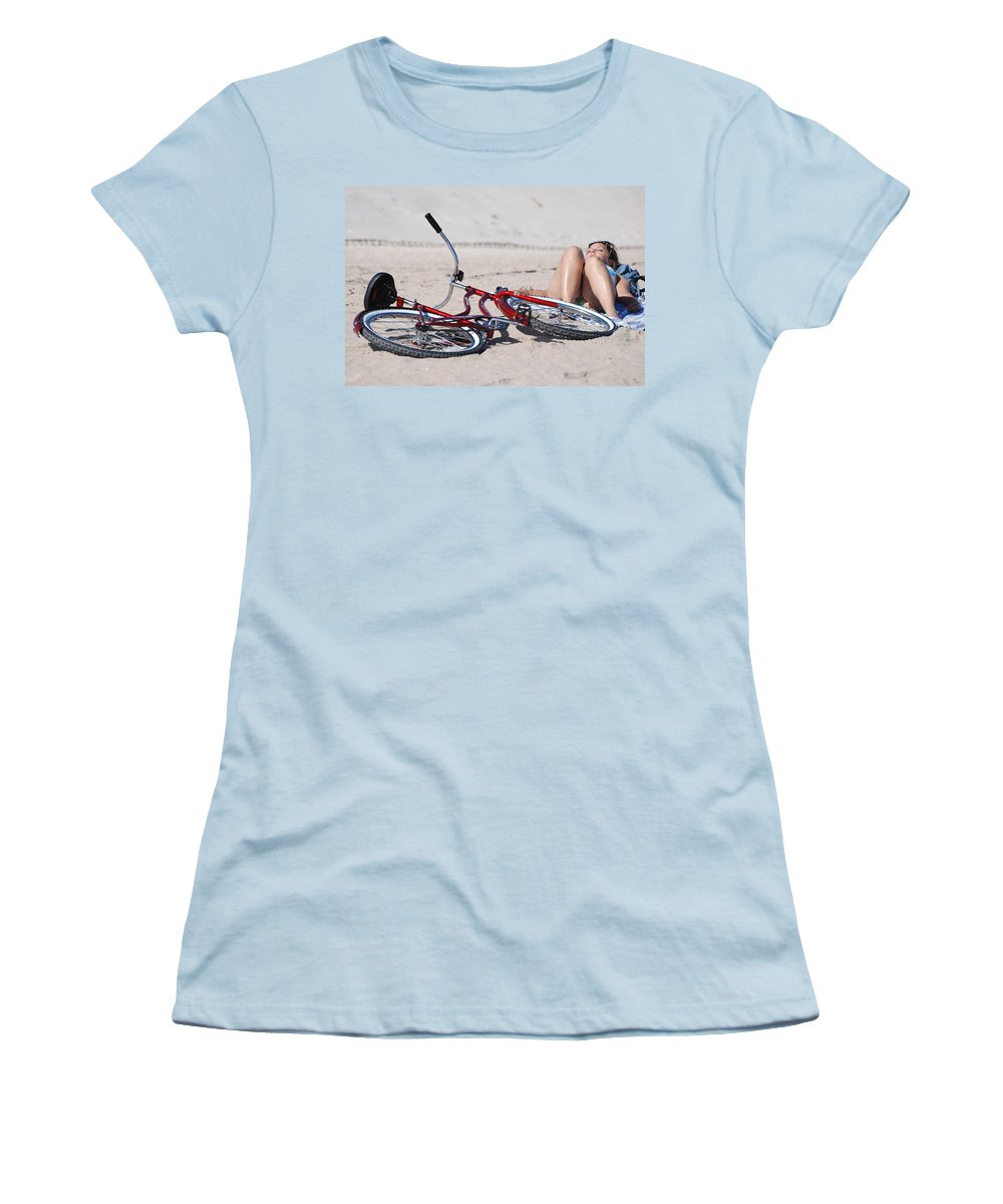 Red Women's T-Shirt (Athletic Fit) featuring the photograph Red Bike On The Beach by Rob Hans
