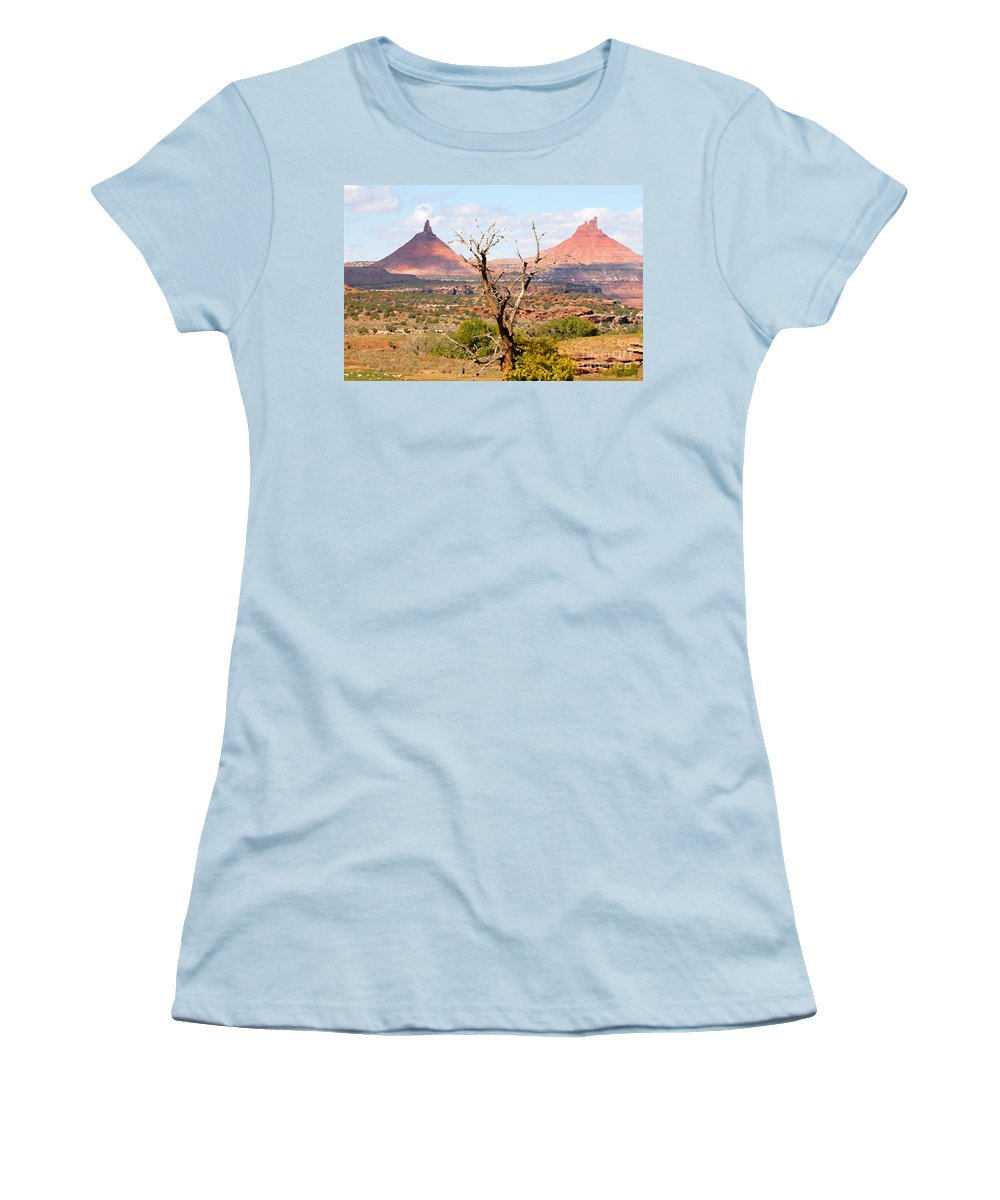 Buttes Women's T-Shirt (Athletic Fit) featuring the photograph Red Buttes by David Lee Thompson