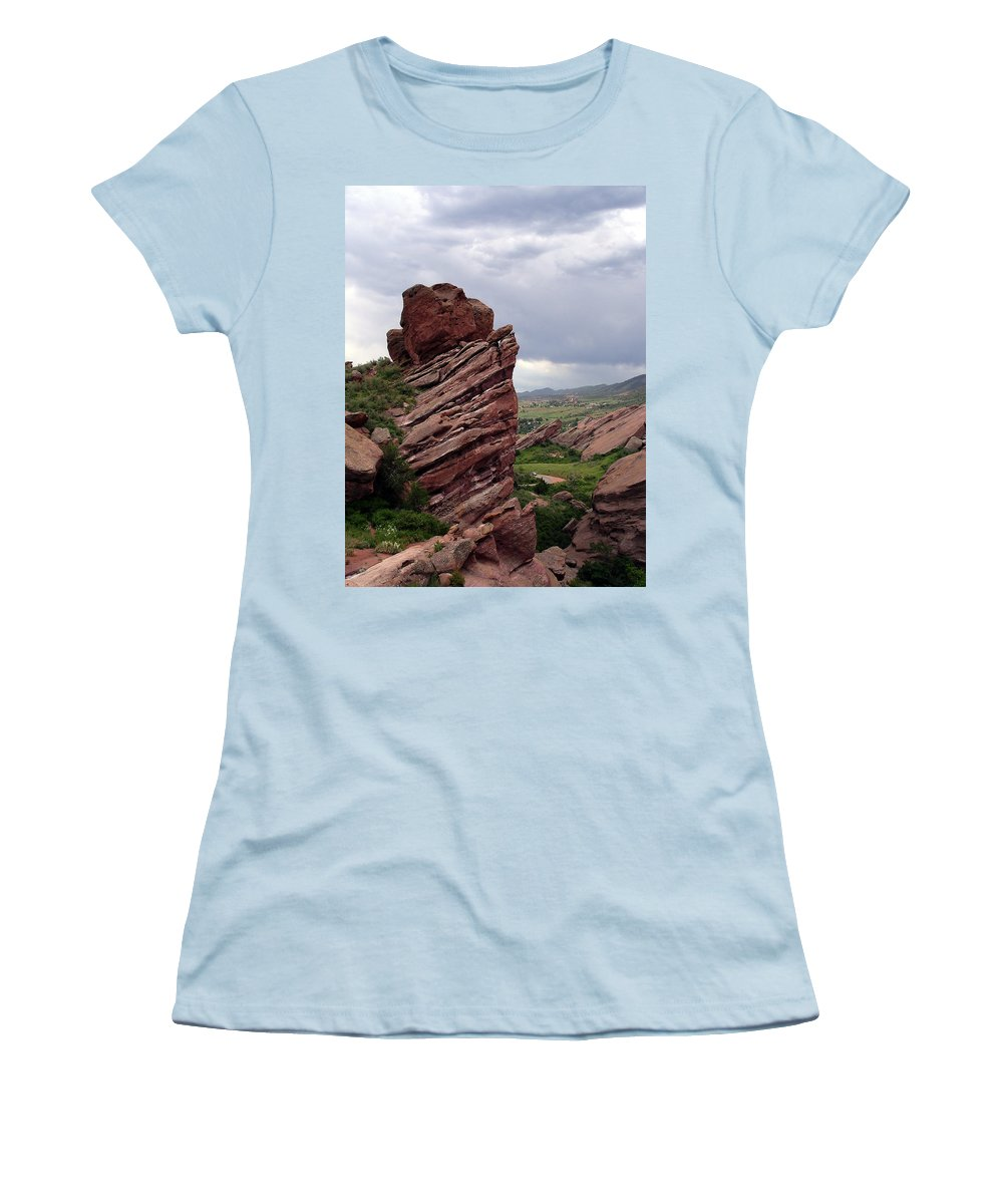 Red Rocks Women's T-Shirt (Athletic Fit) featuring the photograph Red Rocks Colorado by Merja Waters