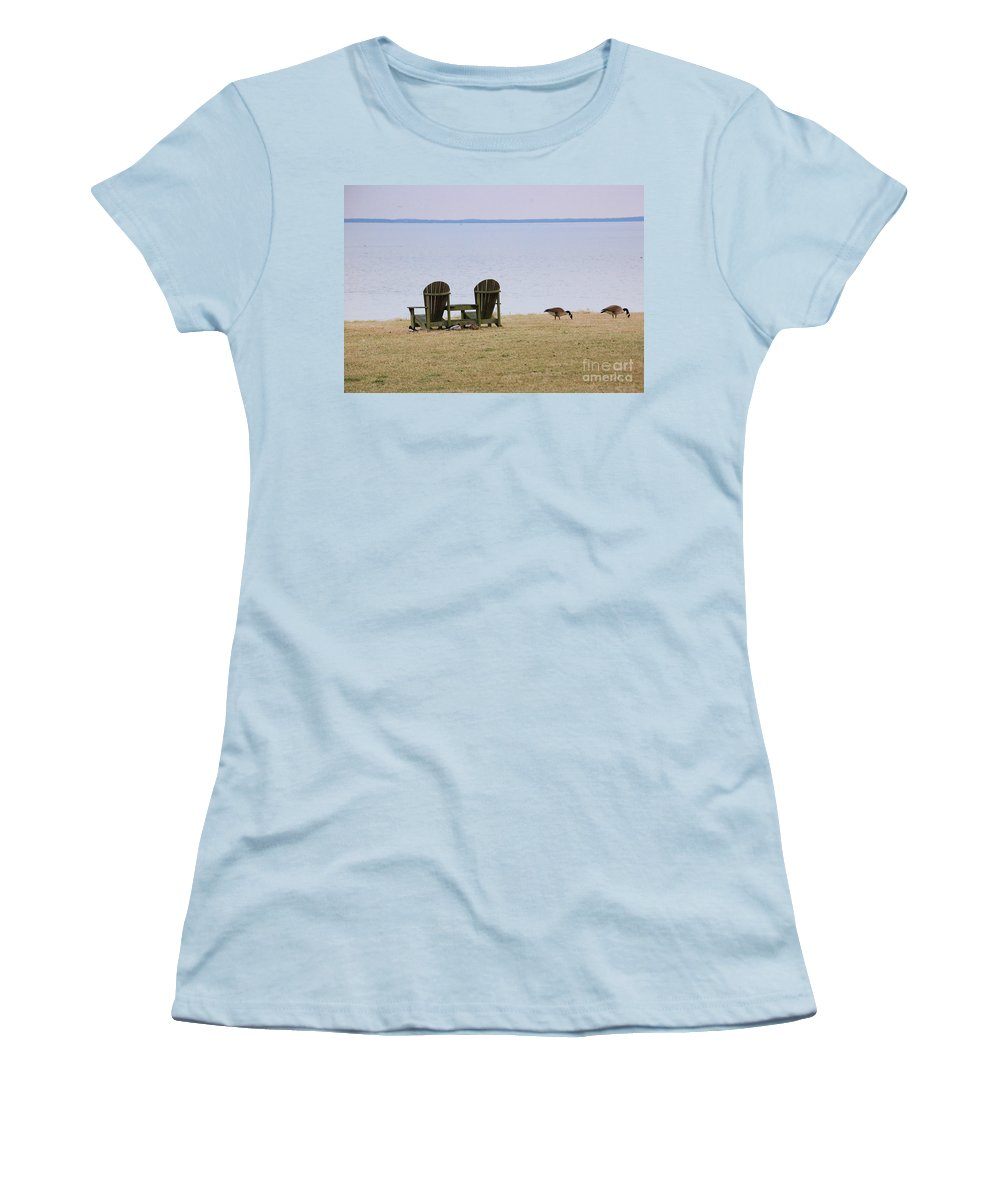 Chairs Women's T-Shirt (Athletic Fit) featuring the photograph Relax by Debbi Granruth