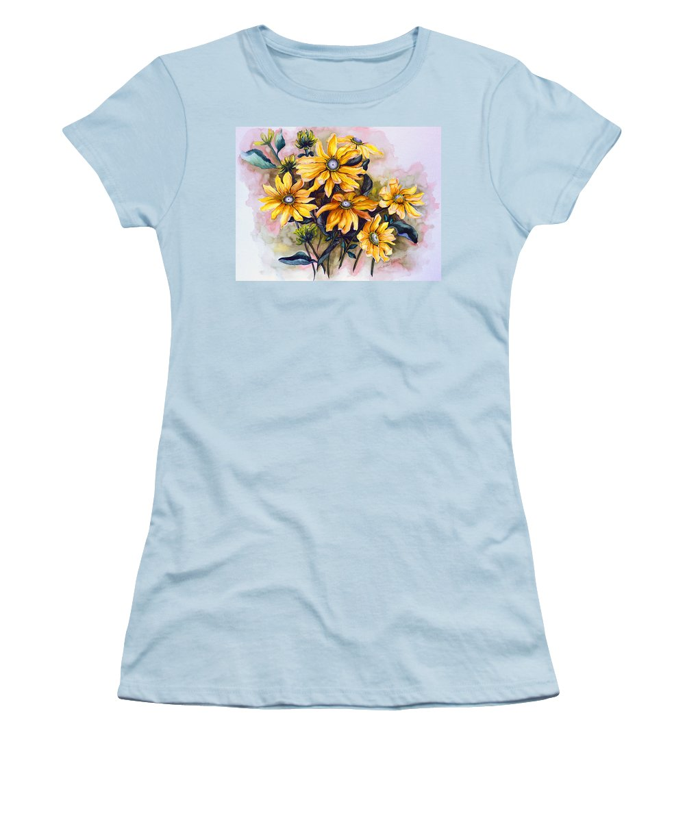 Flower Painting Sun Flower Painting Flower Botanical Painting  Original Watercolor Painting Rudebeckia Painting Floral Painting Yellow Painting Greeting Card Painting Women's T-Shirt (Athletic Fit) featuring the painting Rudbeckia Prairie Sun by Karin Dawn Kelshall- Best