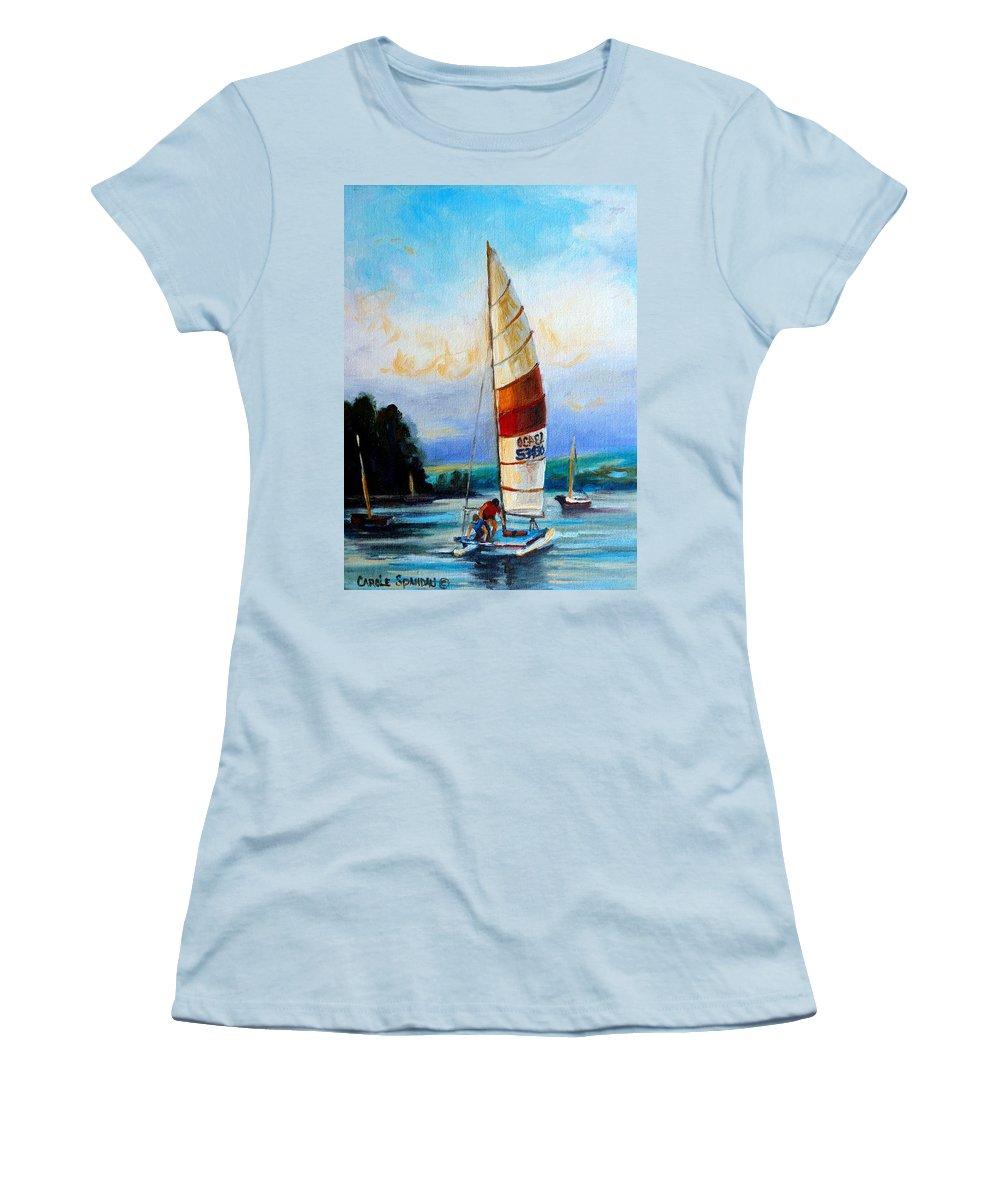 Sail Boats On The Lake Women's T-Shirt (Athletic Fit) featuring the painting Sail Boats On The Lake by Carole Spandau