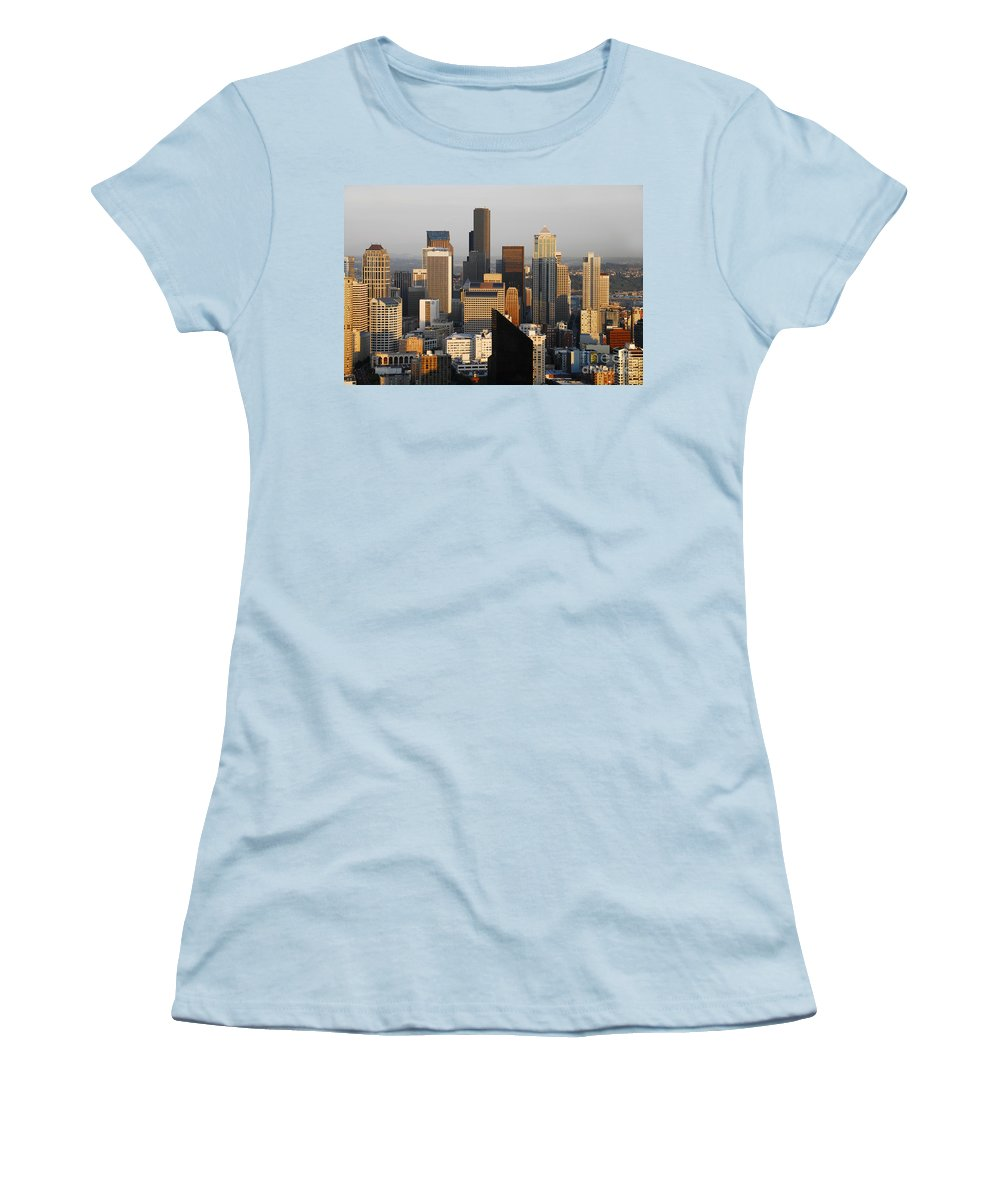 Seattle Washington Women's T-Shirt (Athletic Fit) featuring the photograph Seattle by David Lee Thompson