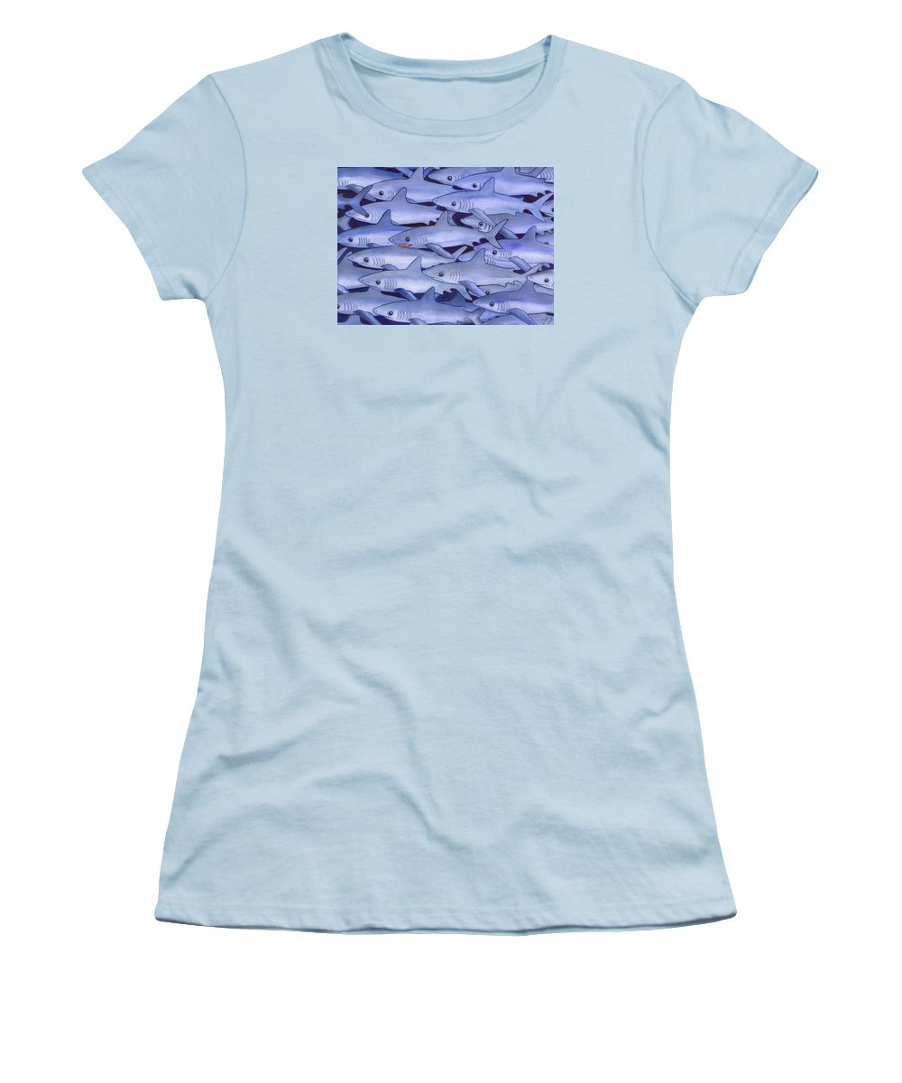 Shark Women's T-Shirt (Athletic Fit) featuring the painting Sharks by Catherine G McElroy